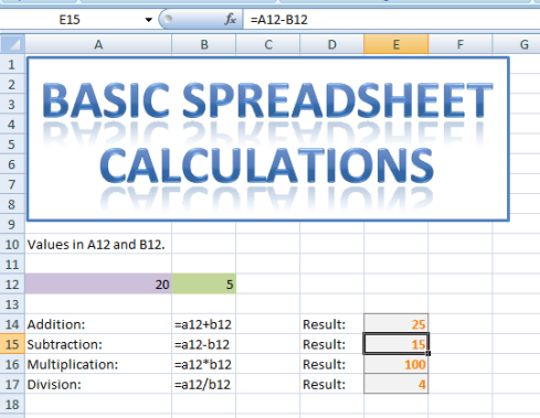 Shows basic use of mathematical operators in Excel.